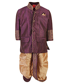 Ethniks Neu Ron Dhoti Kurta And Pajama Set - Purple