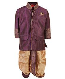 Ethniks Neu Ron Dhoti Kurta And Pajama Set - Purple