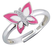 Tanyas Jewelry Adjustable Butterfly Ring- Pink and White