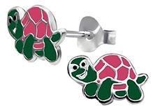 Tanyas Jewelry Beautiful Turtle Earrings- Pink and Green