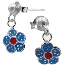 Tanyas Jewelry Dangling Flower Earrings- Pink and Blue