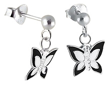 Tanyas Jewelry Dangling Butterfly Earrings- Black and White