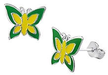 Tanyas Jewelry Beautiful Butterfly Earrings- Green and Yellow