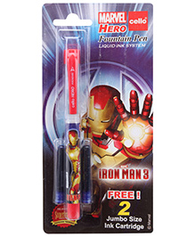 Cello Marvel Hero Fountain Ink Pen- Blue - Liquid Ink System For Finest Quality Smooth Writing