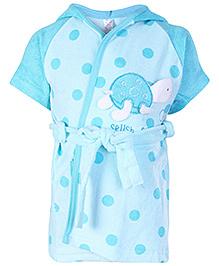 Pink Rabbit Half Sleeves Hooded Bath Robe Sky Blue - Polka Dots Print