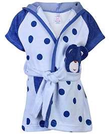 Pink Rabbit Half Sleeves Bath Robe - Blue