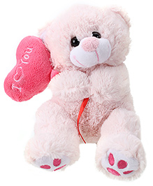 Play N Pets Teddy Bear With Heart Pink - 20 cm