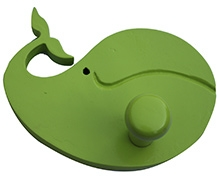 Fly Frog Dolphin Shaped Wood Peg Wall Hook - Green - Peg Diameter 6 Inches