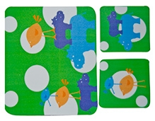 Fly Frog Hippo Printed Mouse Pad And Coasters - Mouse Pad Dimension 7.5 Sq Inches