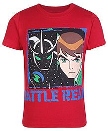 Ben 10 Half Sleeves T-Shirt Red - Battle Ready Print