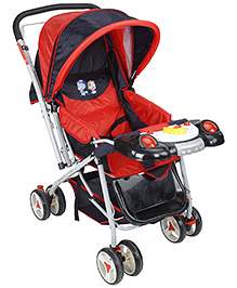Fab N Funky Baby Stroller - Red Navy Blue And Black