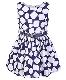 Babyhug Sleeveless Frock Geometric Print With Belt - Navy Blue