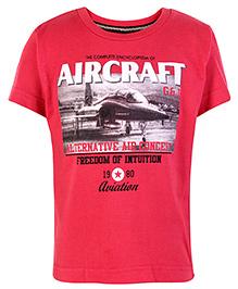 Gini & Jony Half Sleeves T Shirt Red - Aircraft Print
