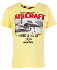 Gini & Jony Half Sleeves T Shirt Yellow - Aircraft Print