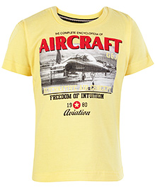 Gini & Jony Half Sleeves T Shirt Yellow - Aircraft Print