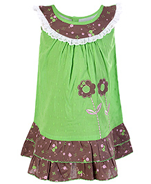 SAPS Flower Print Sleeveless Frock- Green and Brown