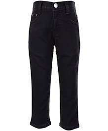 Palm Tree Fixed Waist Jeans - Black