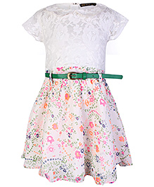 Gini & Jony Short Sleeves Party Frock With Belt - White