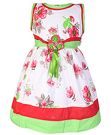 Babyhug Sleeveless Frock Flower Print With Belt - Pink And Green