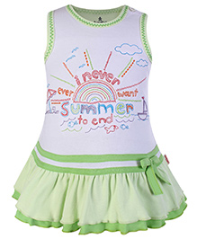 Child World Sleeveless Frock Green - Embroidered Bodice