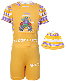 Babyhug Street Print T-Shirt and Shorts Set with Cap- Yellow