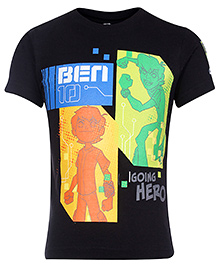 Ben 10 Half Sleeves Going Hero Ben 10 Print - Black