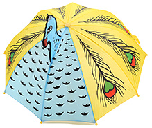Fab N Funky Peacock Design Kids Umbrella - Blue And Yellow