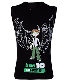 Ben 10 Sleeveless Hooded T-Shirt Go Hero Print - Black