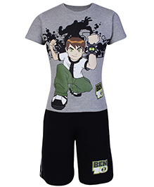 Ben 10 Half Sleeves T-Shirt And Shorts Grey