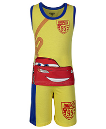 Disney Sleeveless T-Shirt And Shorts Yellow - Pixar Car Print