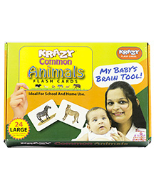 Krazy Flash Cards Common Animals My Baby Brain Tool - 26 Large Cards
