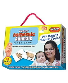 Krazy Flash Cards With Ring Domestic Animals My Baby Brain Tool - 26 Large Cards