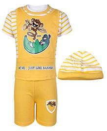 Babyhug Just Like Banana Print T-Shirt and Shorts Set with Cap- Yellow