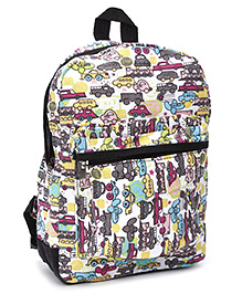 Fab N Funky School Bag Vehicle Print - Black