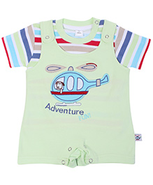 ToffyHouse Green Dungaree Style Romper With Half Sleeves T Shirt - Helicopter Patch