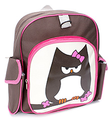 Fab N Funky School Bag Owl Print - Brown