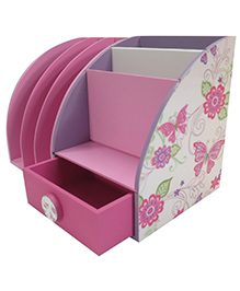 Kidoz Butterfly Desk Set Cum Bookend - Pink And White