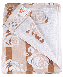 Sasson Bath Towel Brown - Roses Design
