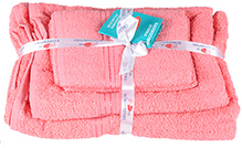 Sassoon Calzedonia Plain Towels Light Pink - Set Of Four