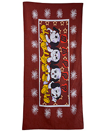 Sassoon Cotton Terry Printed Towel - Dark Maroon