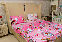 Sassoon Doraemon Printed Double Bed Bedsheet And Pillow Covers