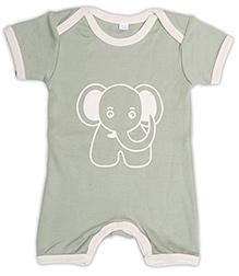 Nino Bambino Short Sleeves Romper Blue - Elephant Print