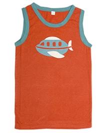 Nino Bambino Sleeveless T-Shirt Orange - Airplane Print