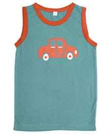 Nino Bambino Sleeveless T-Shirt Turquoise Blue - Car Print