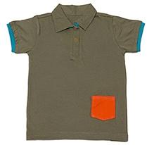 Nino Bambino Half Sleeves Polo T-Shirt With Front Pocket - Sage Green
