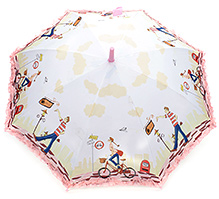 Fab N Funky Bicycle Girl And Boy Print Kids Umbrella - Pink And White