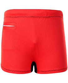Veloz Swimming Trunks With Zigzag Top Stitch - Red