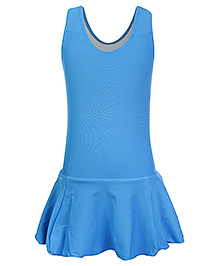 Veloz Sleeveless Frock Style Swimwear - Blue