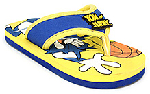 Tom and Jerry Shoes Flip Flop Slipper With Tom and Jerry Print - Yellow and Blue