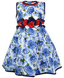 Babyhug Party Wear Frock with Flower Applique Line on Waist - Blue